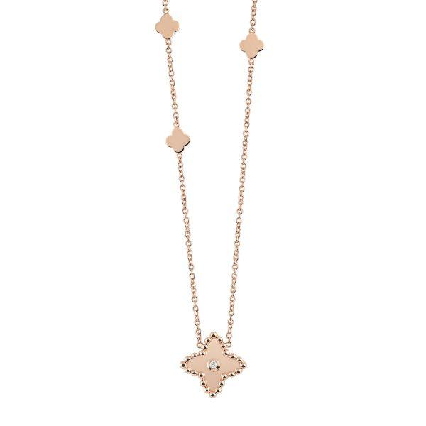 al coro palladio collier c235r 750 rosegold diamant kette ist mit drei kleeblätter als anhänger verziert